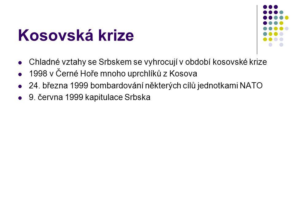 Kosovská krize Chladné vztahy se Srbskem se vyhrocují v období kosovské krize 1998 v Černé Hoře mnoho uprchlíků z Kosova 24. března 1999 bombardování
