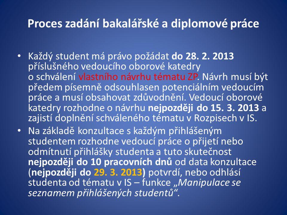 Proces zadání bakalářské a diplomové práce Každý student má právo požádat do 28.