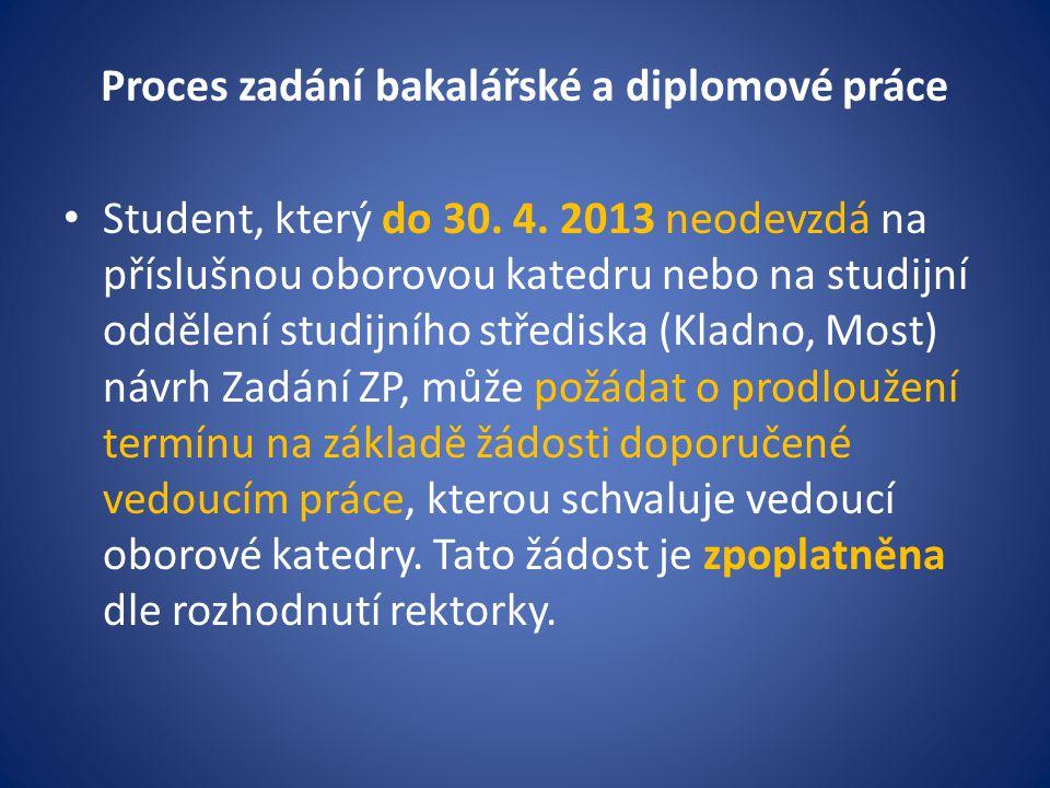 Proces zadání bakalářské a diplomové práce Student, který do 30.