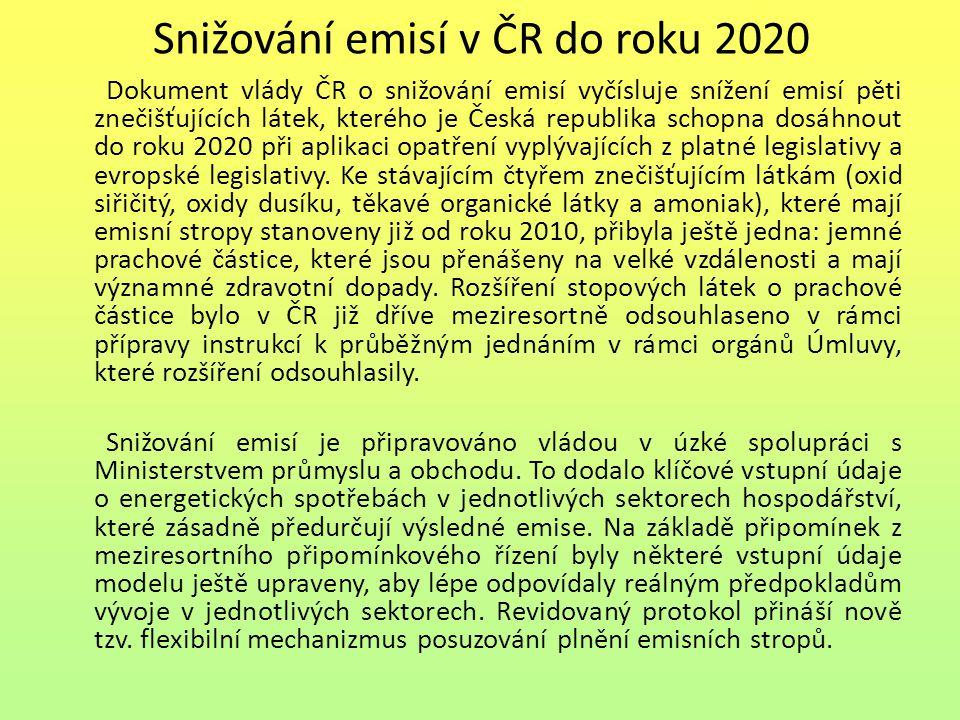 Snižování emisí v ČR do roku 2020 Dokument vlády ČR o snižování emisí vyčísluje snížení emisí pěti znečišťujících látek, kterého je Česká republika schopna dosáhnout do roku 2020 při aplikaci opatření vyplývajících z platné legislativy a evropské legislativy.