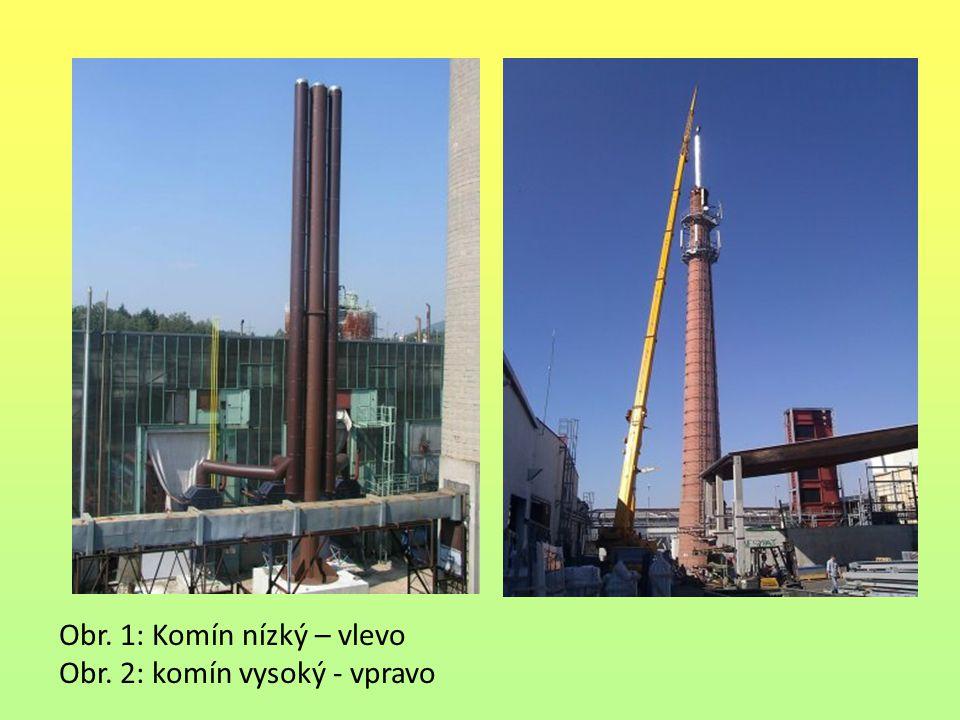 Obr. 1: Komín nízký – vlevo Obr. 2: komín vysoký - vpravo