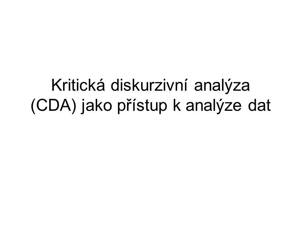 Kritická diskurzivní analýza (CDA) jako přístup k analýze dat