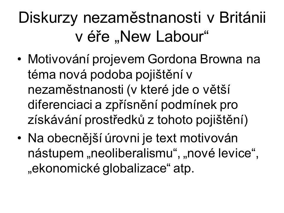 """Diskurzy nezaměstnanosti v Británii v éře """"New Labour"""" Motivování projevem Gordona Browna na téma nová podoba pojištění v nezaměstnanosti (v které jde"""