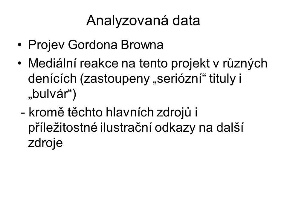 """Analyzovaná data Projev Gordona Browna Mediální reakce na tento projekt v různých denících (zastoupeny """"seriózní"""" tituly i """"bulvár"""") - kromě těchto hl"""
