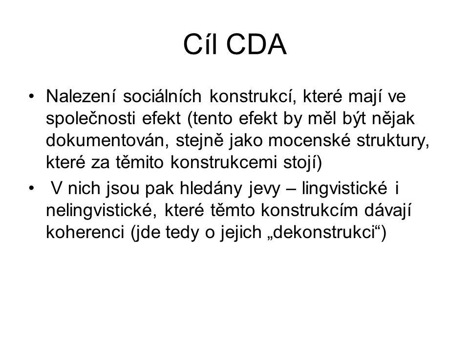 Cíl CDA Nalezení sociálních konstrukcí, které mají ve společnosti efekt (tento efekt by měl být nějak dokumentován, stejně jako mocenské struktury, kt