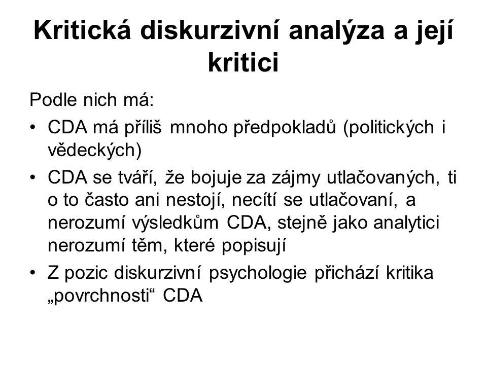 Kritická diskurzivní analýza a její kritici Podle nich má: CDA má příliš mnoho předpokladů (politických i vědeckých) CDA se tváří, že bojuje za zájmy