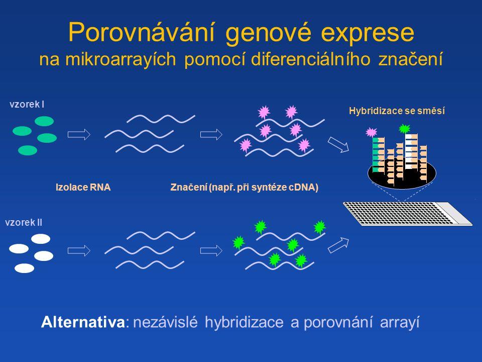 vzorek II vzorek I Izolace RNA Značení (např.