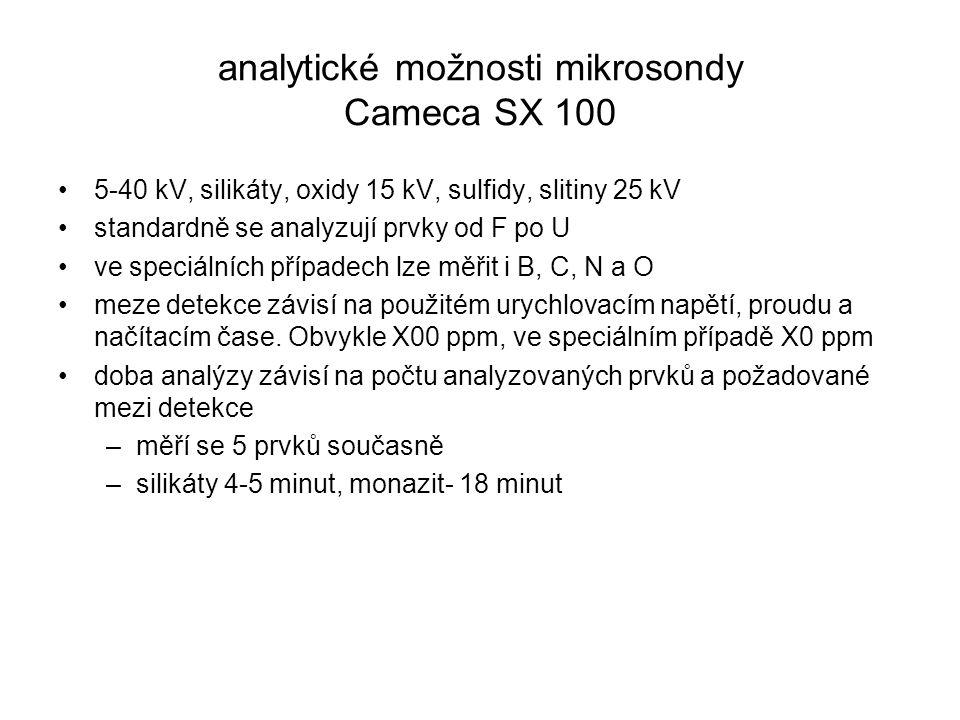 analytické možnosti mikrosondy Cameca SX 100 5-40 kV, silikáty, oxidy 15 kV, sulfidy, slitiny 25 kV standardně se analyzují prvky od F po U ve speciál