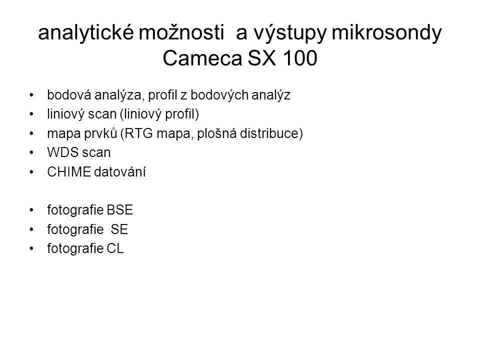 analytické možnosti a výstupy mikrosondy Cameca SX 100 bodová analýza, profil z bodových analýz liniový scan (liniový profil) mapa prvků (RTG mapa, pl