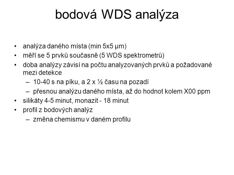 bodová WDS analýza analýza daného místa (min 5x5 μm) měří se 5 prvků současně (5 WDS spektrometrů) doba analýzy závisí na počtu analyzovaných prvků a