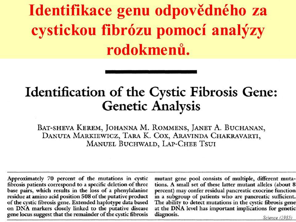 Identifikace genu odpovědného za cystickou fibrózu pomocí analýzy rodokmenů. Science (1985)
