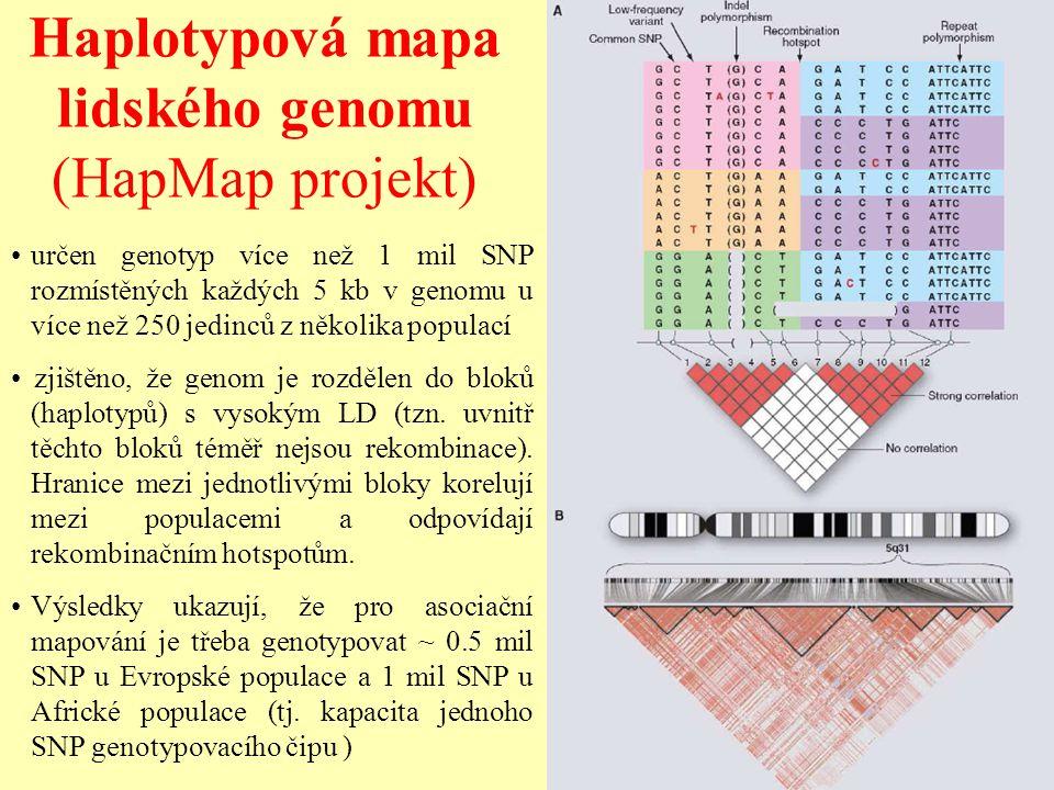 Haplotypová mapa lidského genomu (HapMap projekt) určen genotyp více než 1 mil SNP rozmístěných každých 5 kb v genomu u více než 250 jedinců z několik