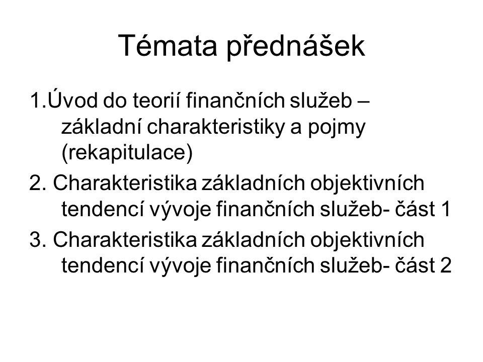 Témata přednášek 1.Úvod do teorií finančních služeb – základní charakteristiky a pojmy (rekapitulace) 2.
