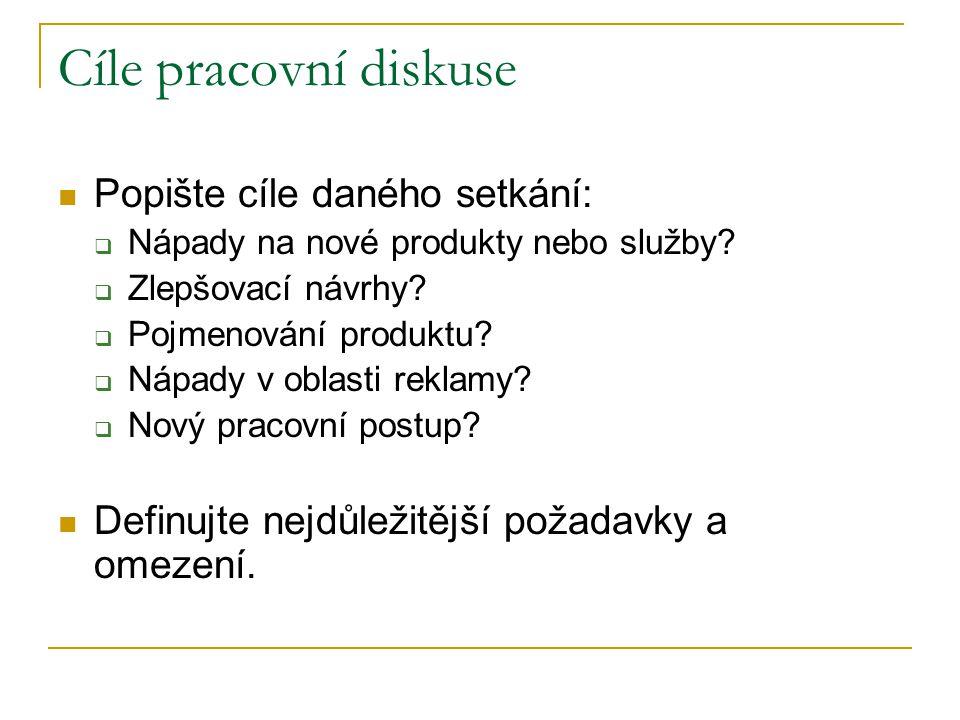 Cíle pracovní diskuse Popište cíle daného setkání:  Nápady na nové produkty nebo služby.