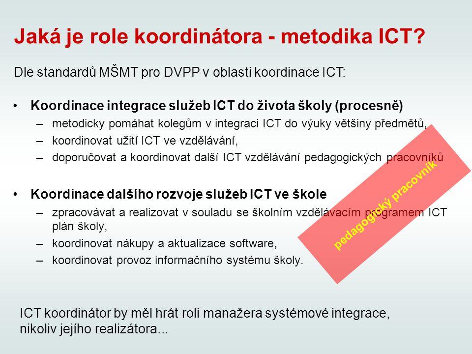 Koordinace integrace služeb ICT do života školy (procesně) –metodicky pomáhat kolegům v integraci ICT do výuky většiny předmětů, –koordinovat užití ICT ve vzdělávání, –doporučovat a koordinovat další ICT vzdělávání pedagogických pracovníků Koordinace dalšího rozvoje služeb ICT ve škole –zpracovávat a realizovat v souladu se školním vzdělávacím programem ICT plán školy, –koordinovat nákupy a aktualizace software, –koordinovat provoz informačního systému školy.
