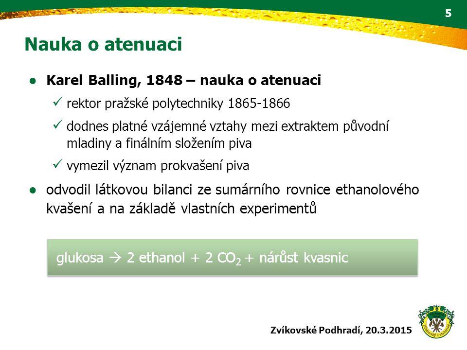 Karel Balling, 1848 – nauka o atenuaci rektor pražské polytechniky 1865-1866 dodnes platné vzájemné vztahy mezi extraktem původní mladiny a finálním s