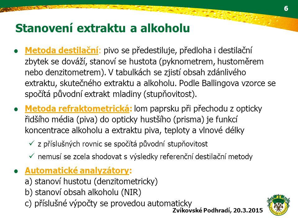 Stanovení extraktu a alkoholu Metoda destilační: pivo se předestiluje, předloha i destilační zbytek se dováží, stanoví se hustota (pyknometrem, hustom