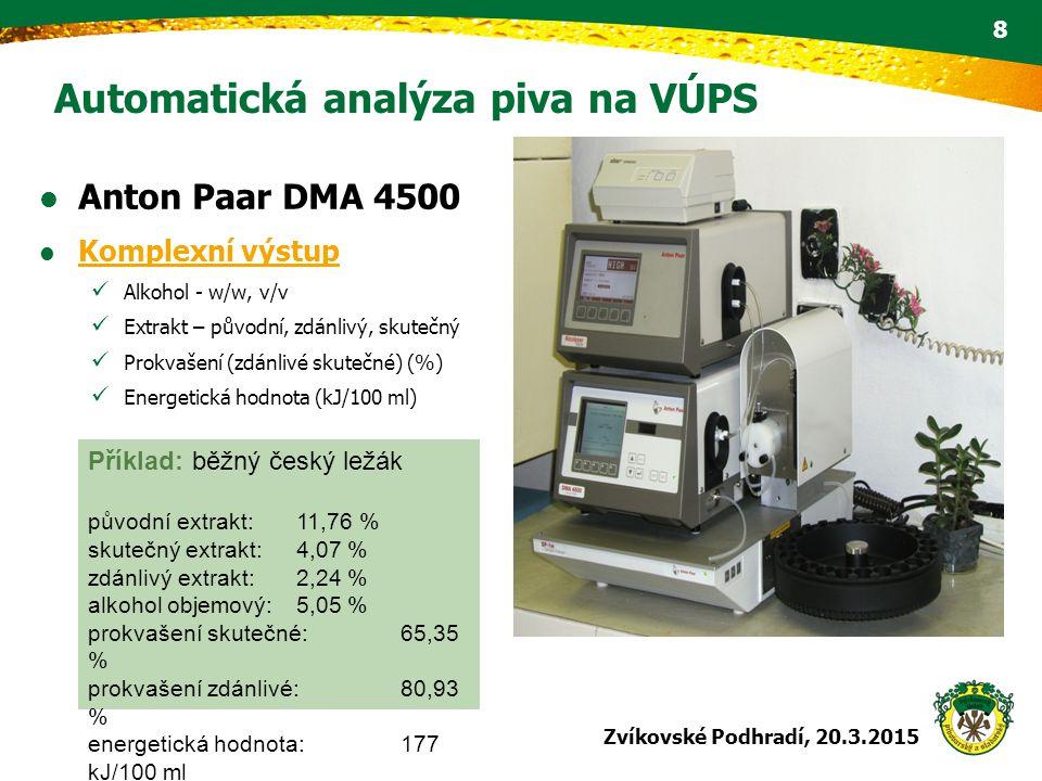 Automatická analýza piva na VÚPS Anton Paar DMA 4500 Komplexní výstup Alkohol - w/w, v/v Extrakt – původní, zdánlivý, skutečný Prokvašení (zdánlivé sk