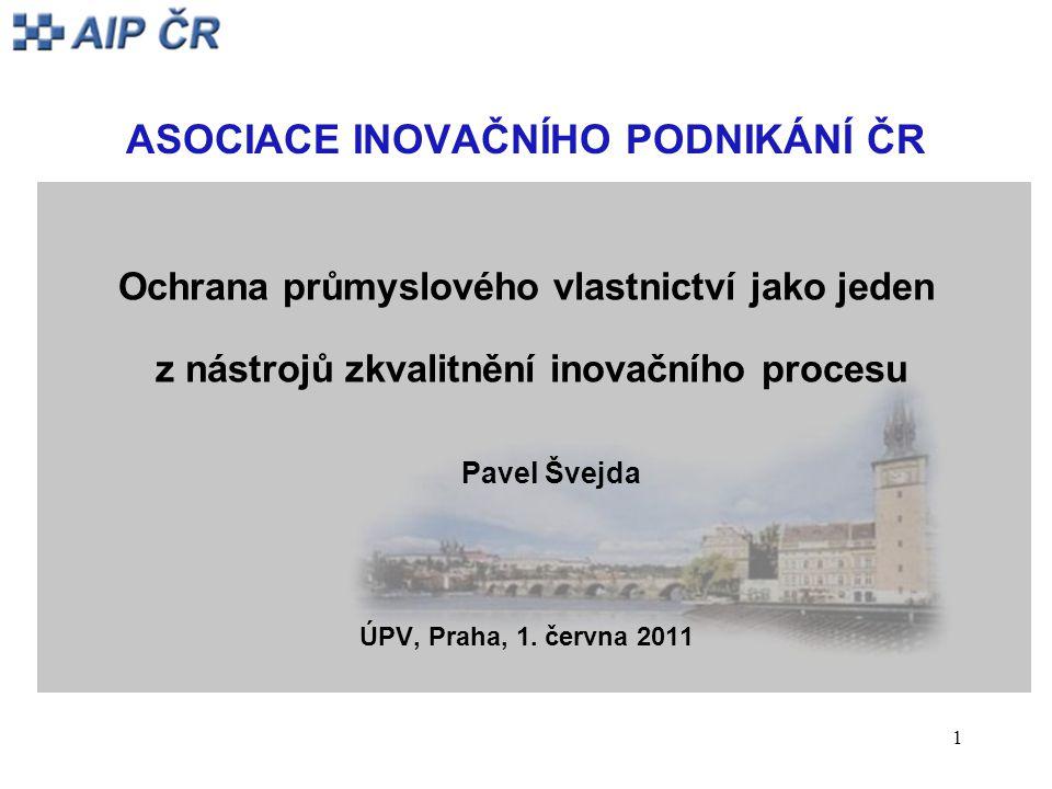 1 ASOCIACE INOVAČNÍHO PODNIKÁNÍ ČR Ochrana průmyslového vlastnictví jako jeden z nástrojů zkvalitnění inovačního procesu Pavel Švejda ÚPV, Praha, 1.