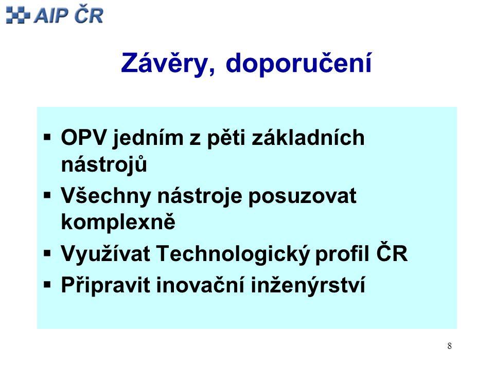 8 Závěry, doporučení  OPV jedním z pěti základních nástrojů  Všechny nástroje posuzovat komplexně  Využívat Technologický profil ČR  Připravit inovační inženýrství