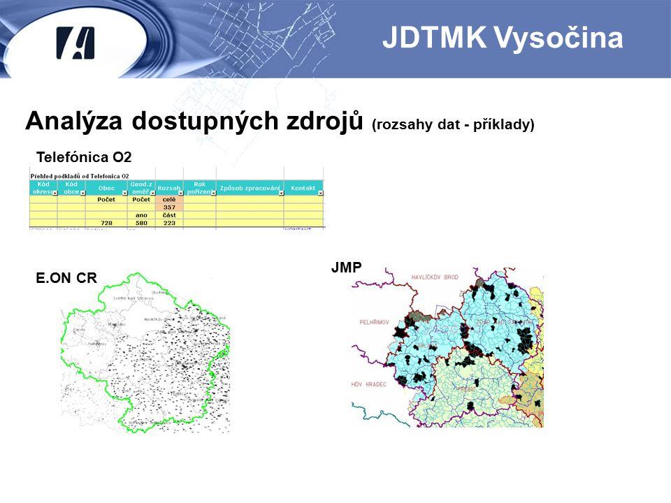 Analýza dostupných zdrojů (rozsahy dat - příklady) JDTMK Vysočina Telefónica O2 E.ON CR JMP