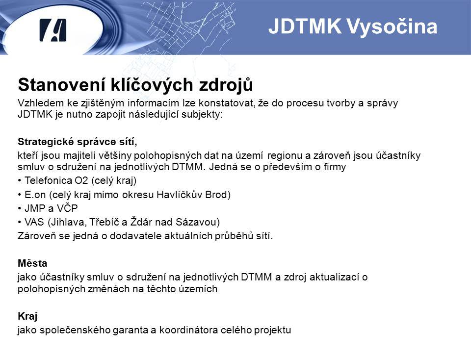 Stanovení klíčových zdrojů Vzhledem ke zjištěným informacím lze konstatovat, že do procesu tvorby a správy JDTMK je nutno zapojit následující subjekty