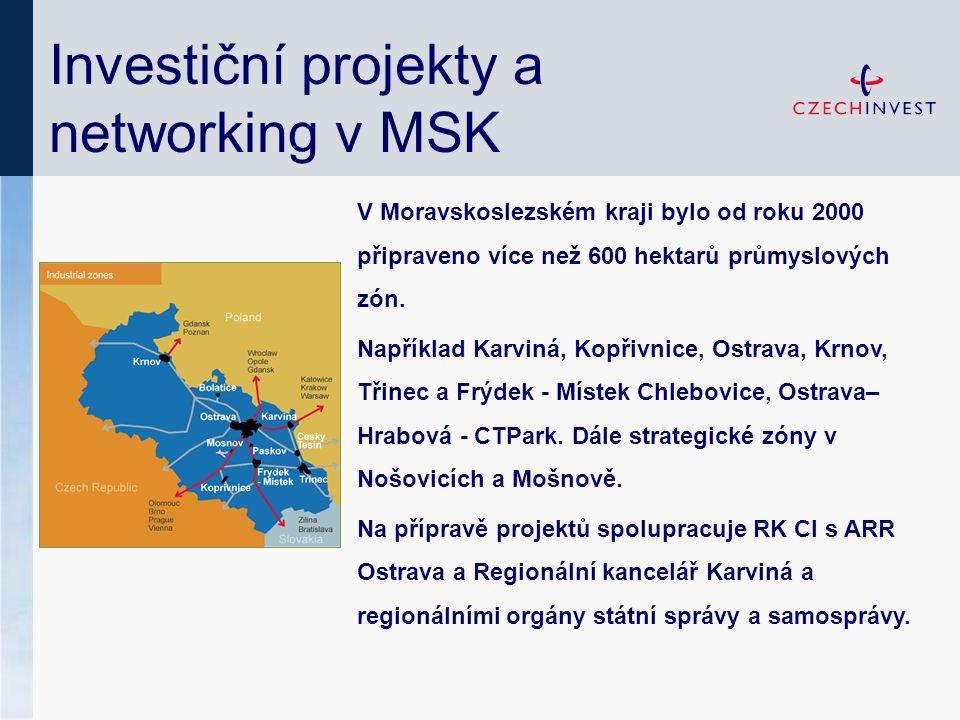 Investiční projekty a networking v MSK V Moravskoslezském kraji bylo od roku 2000 připraveno více než 600 hektarů průmyslových zón.