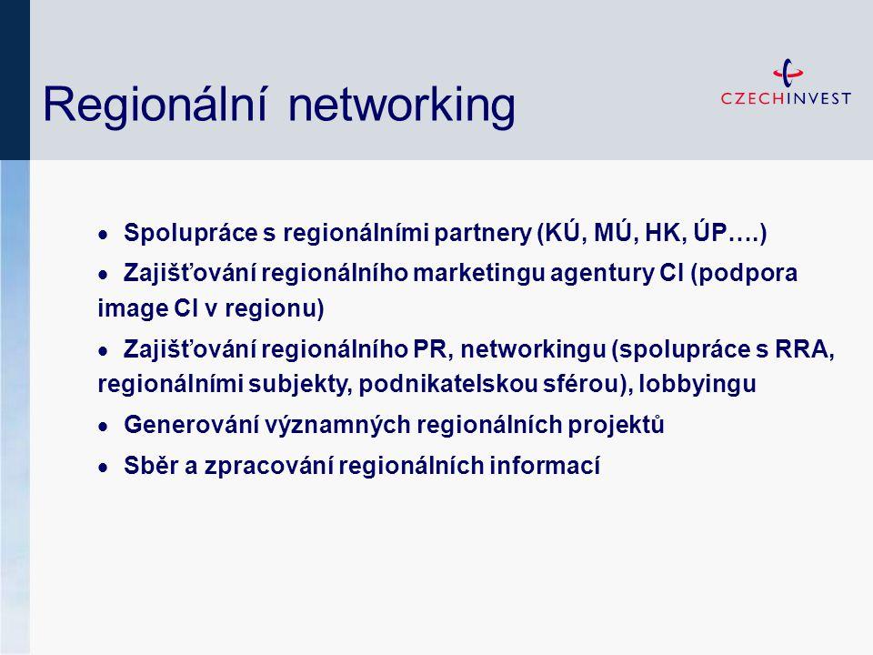 Regionální networking  Spolupráce s regionálními partnery (KÚ, MÚ, HK, ÚP….)  Zajišťování regionálního marketingu agentury CI (podpora image CI v regionu)  Zajišťování regionálního PR, networkingu (spolupráce s RRA, regionálními subjekty, podnikatelskou sférou), lobbyingu  Generování významných regionálních projektů  Sběr a zpracování regionálních informací