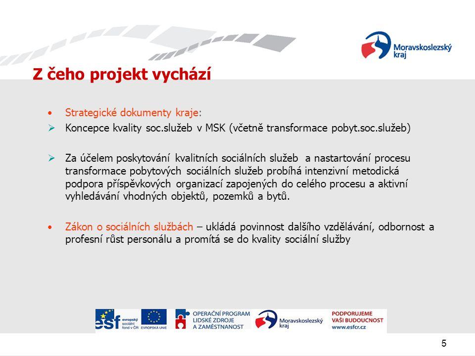 5 Z čeho projekt vychází Strategické dokumenty kraje:  Koncepce kvality soc.služeb v MSK (včetně transformace pobyt.soc.služeb)  Za účelem poskytování kvalitních sociálních služeb a nastartování procesu transformace pobytových sociálních služeb probíhá intenzivní metodická podpora příspěvkových organizací zapojených do celého procesu a aktivní vyhledávání vhodných objektů, pozemků a bytů.