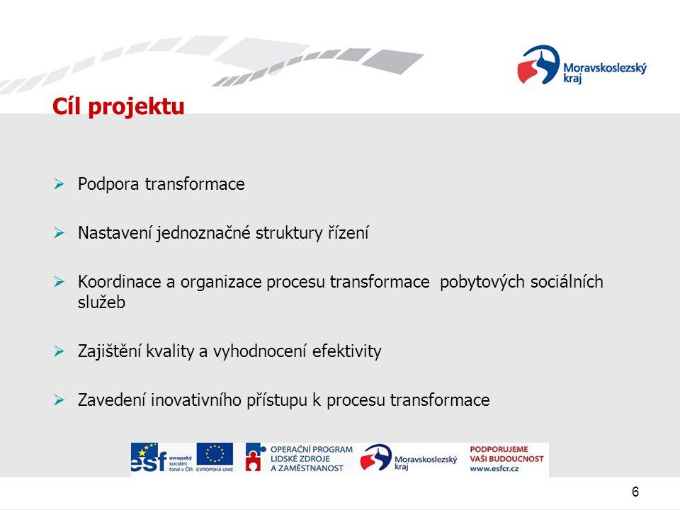 7 Co projekt nabízí ROZVOJ STRUKTURY PRACOVNÍCH SKUPIN – Aby proces transformace probíhal jednotně, uceleně a organizovaně je nutné všem subjektům zapojeným do transformačního procesu umožnit setkávání, sdílení zkušeností a předávání informací.