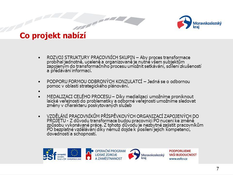 8 Pro koho je projekt určen - cílová skupina OSOBY SE ZDRAVOTNÍM POSTIŽENÍM ZADAVATELÉ SOCIÁLNÍCH SLUŽEB POSKYTOVATELÉ SOC.