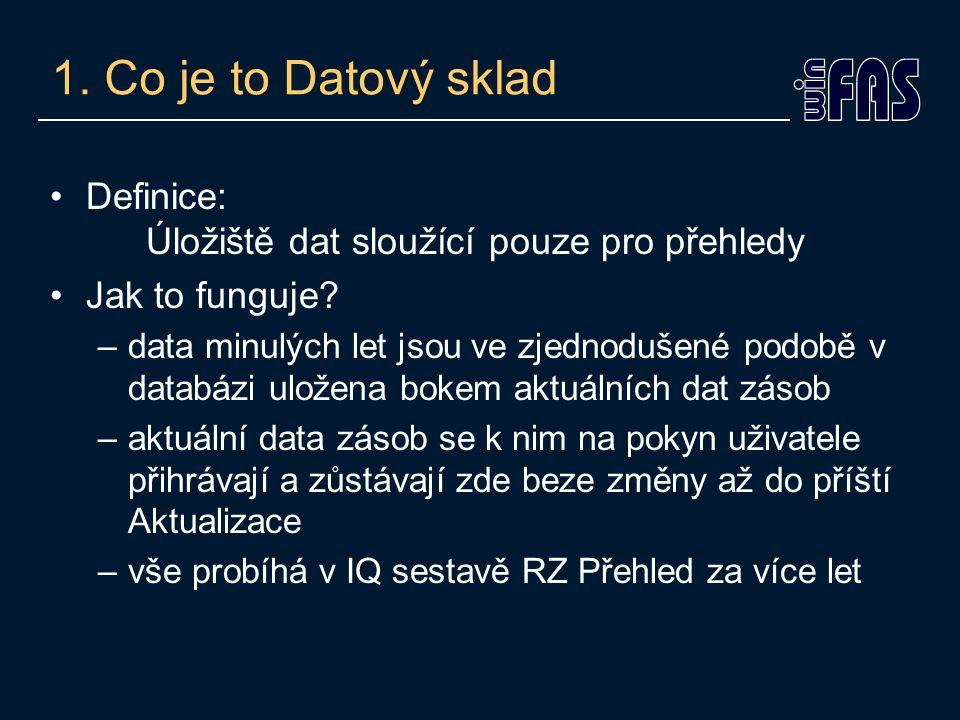 1.Co je to Datový sklad Definice: Úložiště dat sloužící pouze pro přehledy Jak to funguje.
