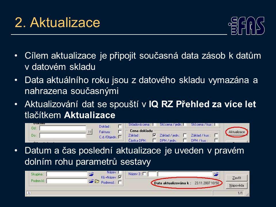 2. Aktualizace Cílem aktualizace je připojit současná data zásob k datům v datovém skladu Data aktuálního roku jsou z datového skladu vymazána a nahra