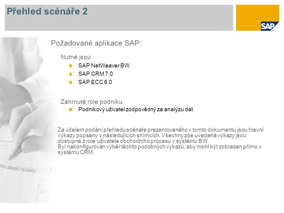 Přehled scénáře 2 Nutné jsou SAP NetWeaver BW SAP CRM 7.0 SAP ECC 6.0 Zahrnuté role podniku Podnikový uživatel zodpovědný za analýzu dat Požadované aplikace SAP: Za účelem podání přehledu scénáře prezentovaného v tomto dokumentu jsou hlavní výkazy popsány v následujících snímcích.