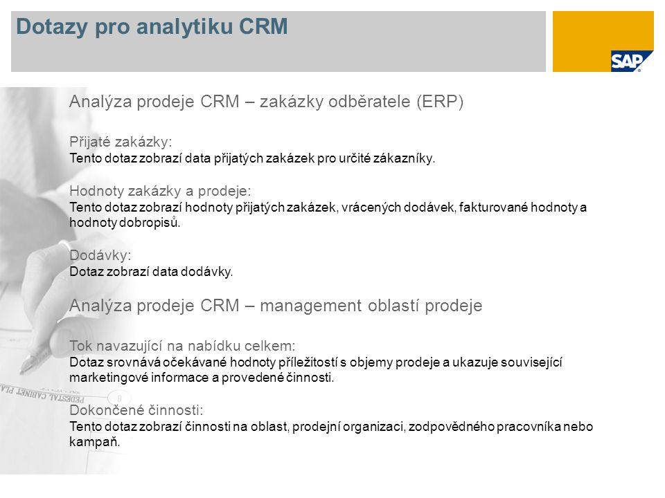 Dotazy pro analytiku CRM Analýza prodeje CRM – zakázky odběratele (ERP) Přijaté zakázky: Tento dotaz zobrazí data přijatých zakázek pro určité zákazníky.