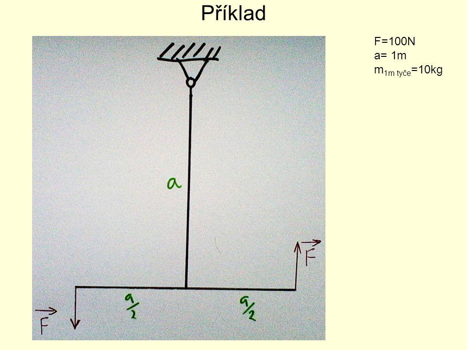 Příklad F=100N a= 1m m 1m tyče =10kg