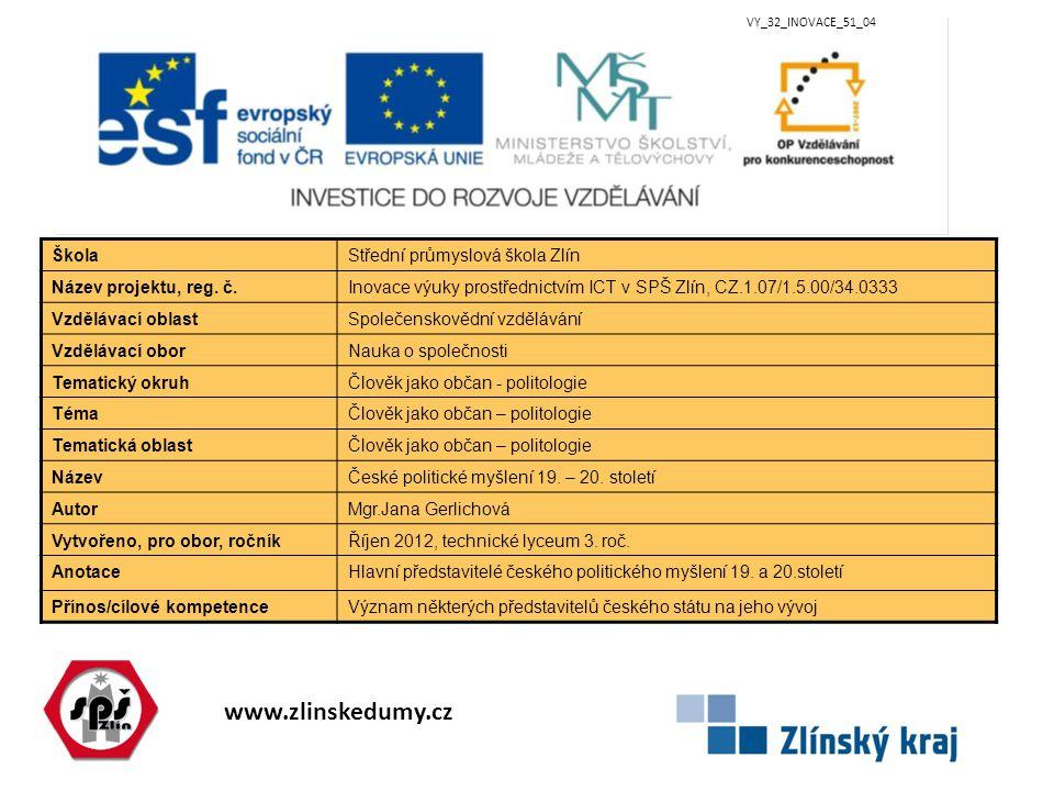 www.zlinskedumy.cz VY_32_INOVACE_51_04 ŠkolaStřední průmyslová škola Zlín Název projektu, reg. č.Inovace výuky prostřednictvím ICT v SPŠ Zlín, CZ.1.07