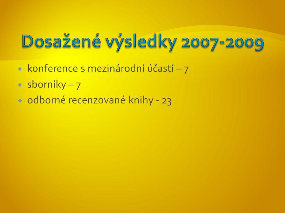  konference s mezinárodní účastí – 7  sborníky – 7  odborné recenzované knihy - 23