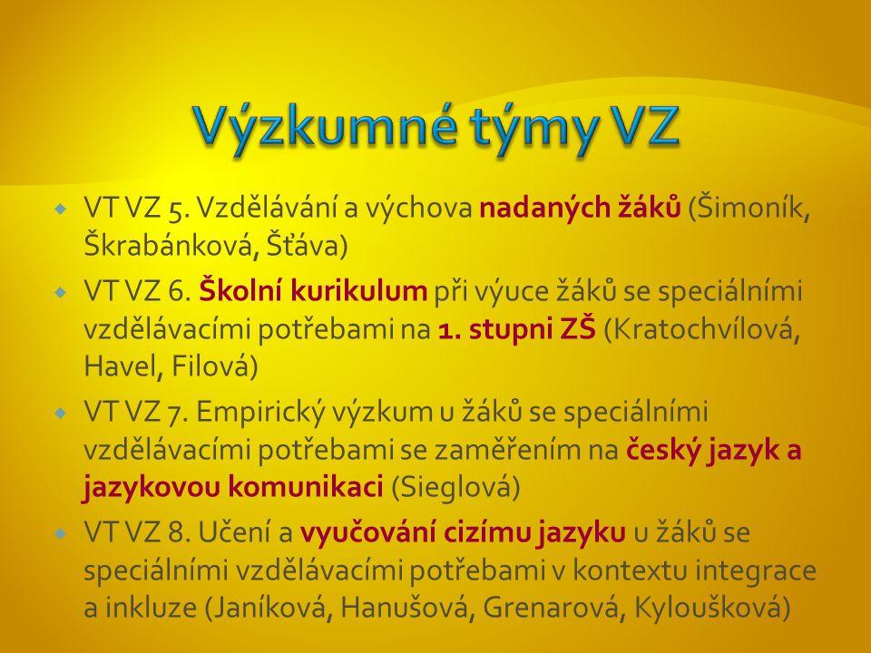  VT VZ 5. Vzdělávání a výchova nadaných žáků (Šimoník, Škrabánková, Šťáva)  VT VZ 6.