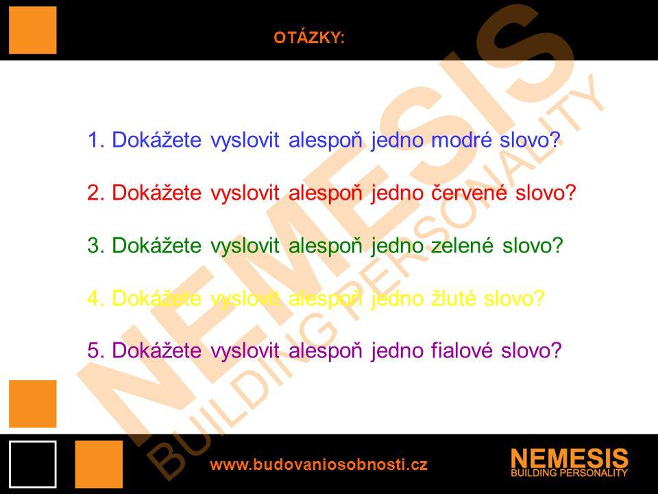 www.budovaniosobnosti.cz OTÁZKY: 1.Dokážete vyslovit alespoň jedno modré slovo.
