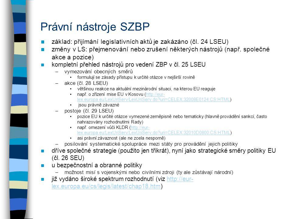Právní nástroje SZBP základ: přijímání legislativních aktů je zakázáno (čl.
