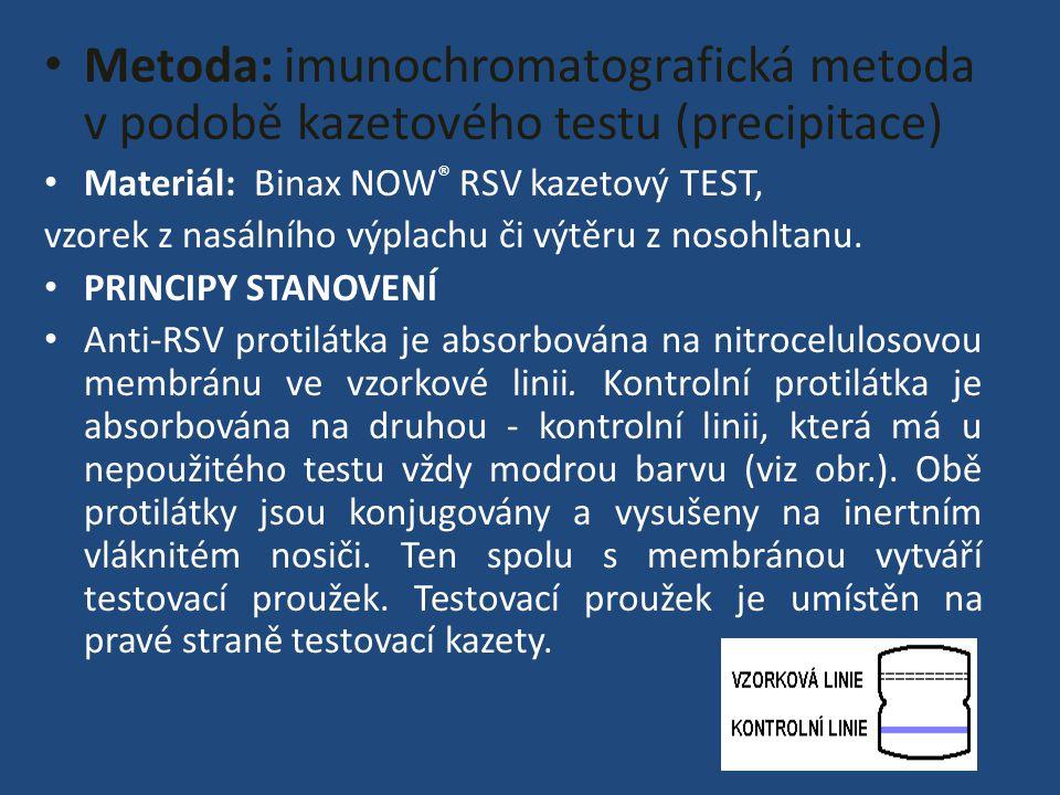 Metoda: imunochromatografická metoda v podobě kazetového testu (precipitace) Materiál: Binax NOW ® RSV kazetový TEST, vzorek z nasálního výplachu či výtěru z nosohltanu.