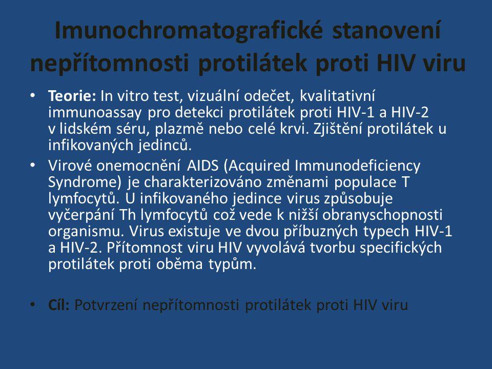 Imunochromatografické stanovení nepřítomnosti protilátek proti HIV viru Teorie: In vitro test, vizuální odečet, kvalitativní immunoassay pro detekci p