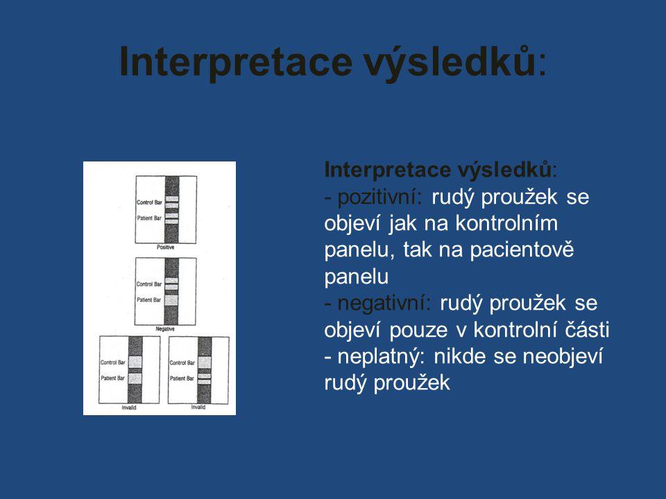 Interpretace výsledků: - pozitivní: rudý proužek se objeví jak na kontrolním panelu, tak na pacientově panelu - negativní: rudý proužek se objeví pouze v kontrolní části - neplatný: nikde se neobjeví rudý proužek