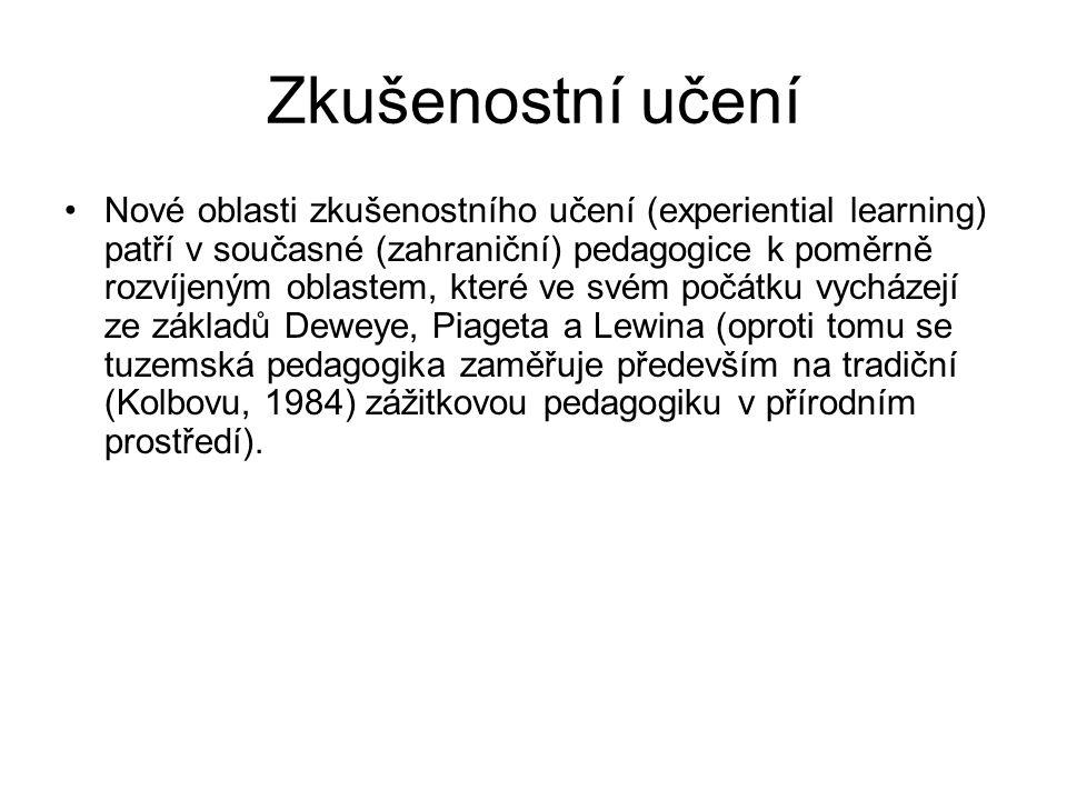 Zkušenostní učení Nové oblasti zkušenostního učení (experiential learning) patří v současné (zahraniční) pedagogice k poměrně rozvíjeným oblastem, kte