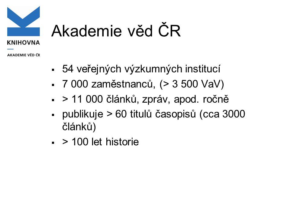 Akademie věd ČR  54 veřejných výzkumných institucí  7 000 zaměstnanců, (> 3 500 VaV)  > 11 000 článků, zpráv, apod.