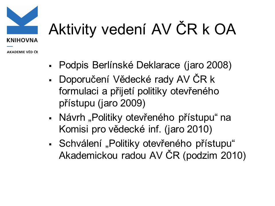 Politika otevřeného přístupu AV ČR  Schválena Akademickou radou AV ČR 14.9.