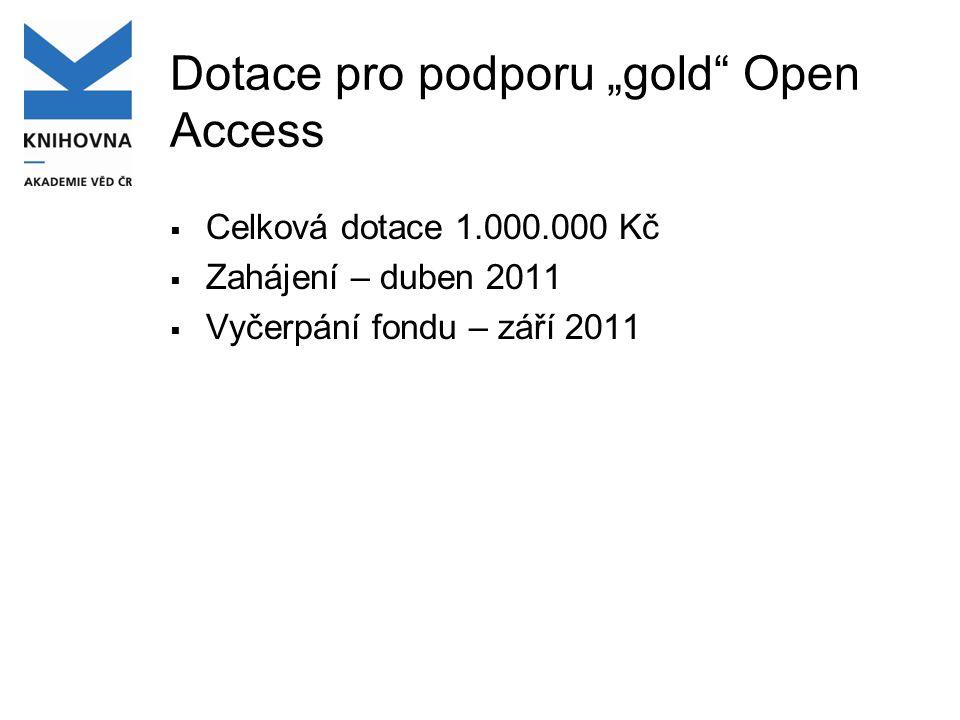 """AV ČR – impaktované články a """"gold Open Access  2009 - ASEP – 3.347 článků v J imp - BioMed Central - 47 článků z toho 44 v J imp."""