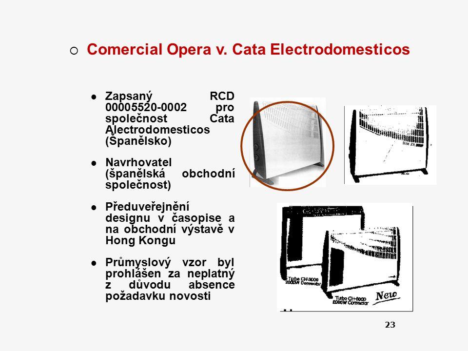 23  Comercial Opera v. Cata Electrodomesticos Zapsaný RCD 00005520-0002 pro společnost Cata Alectrodomesticos (Španělsko) Navrhovatel (španělská obch