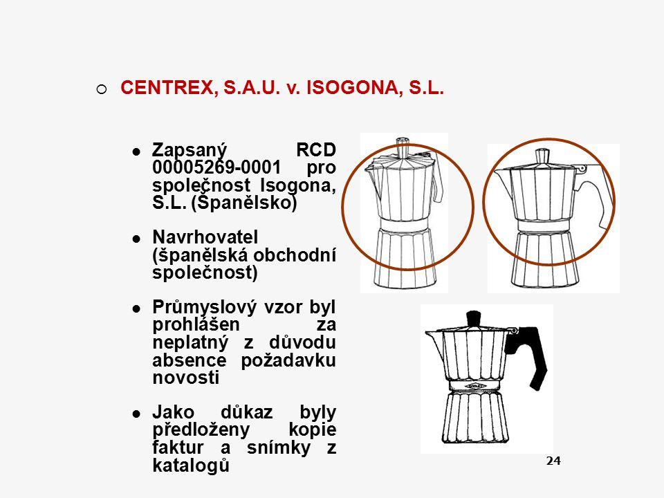 24  CENTREX, S.A.U. v. ISOGONA, S.L. Zapsaný RCD 00005269-0001 pro společnost Isogona, S.L. (Španělsko) Navrhovatel (španělská obchodní společnost) P